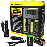 NITECORE i4 Battery Charger for Li-ion/IMR / 18650 16340 RCR123 14500 AA AAA AAAA Types w/Ac and 12V DC (Car) Power Cords, 2 X EdisonBright AA to D Type Battery Spacer/converters