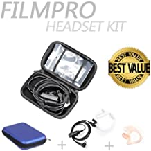 On Set Headsets : The FILMPRO Kit - Includes the FILMPRO Walkie Talkie Surveillance Headset w/ BLUE Travel Case and FREE Contoured Ear Tip (Ear Tip: Right/Medium)