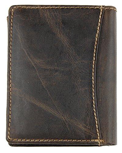 NB24 Versand Herren Geldbörse (5452), Wash Leather Echtes Leder, braun; WILD THIMGS ONLY !!!