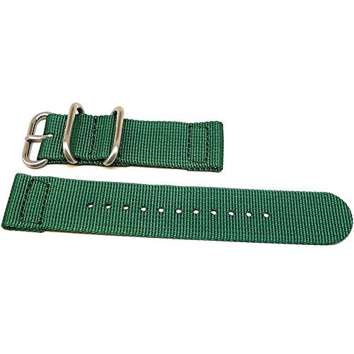 DaLuca Two Piece Ballistic Nylon NATO Watch Strap - Green : 20mm