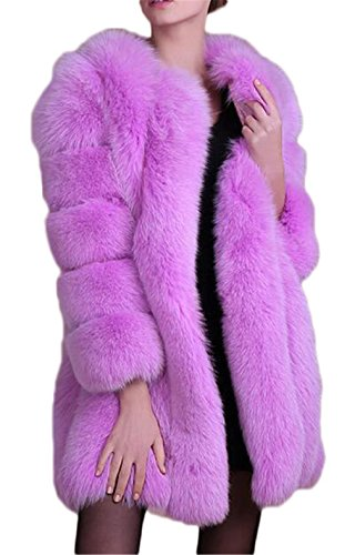 Women's Winter Thick Outerwear Warm Long Fox Faux Fur Coat (US 8-10, purple)]()