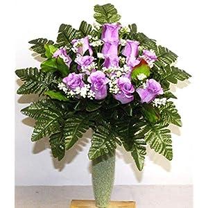 Purple Roses Cemetery Arrangement For Mausoleum 6