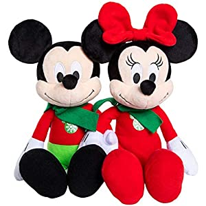 Disney 2019 Holiday Mickey or Minnie Mouse – Christmas Plush Figure – 14 Inches (Christmas Mickey and Minnie – Set of 2)