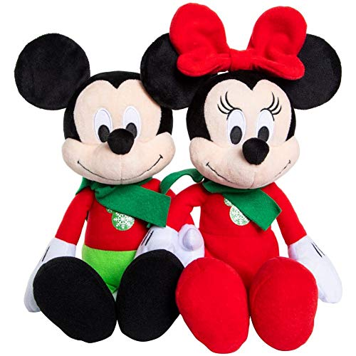 Disney 2019 Holiday Mickey or Minnie Mouse - Christmas Plush Figure - 14 Inches (Christmas Mickey and Minnie - Set of 2)