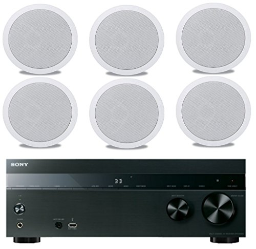 "Sony 5.2-Channel 725-Watt 4K A/V Home Theater Receiver + Polk Easy-to-Install High-Performance Surround Sound 6.5"" 2-Way in-ceiling Speaker System (Set Of 6)"