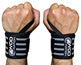 WOD Nation Wrist Wraps by Wrist Support Straps (12'', 18'' or 24'') - Fits Both Men & Women - Strength Training, Weightlifting, Powerlifting - Lift Heavier Weight (18 Inch - Black/Grey)