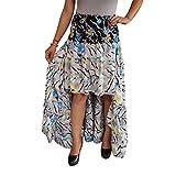 Mogul Interior Womens Hi Low Skirt Recycled Sari Tiered Full Flare Skirts S/M