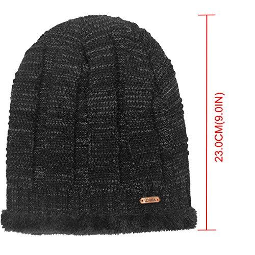 0afbc5ed642 LETHMIK Unique Ribbed Knit Beanie Warm Thick Fleece Lined Hat Mens Winter  Skull Cap Black