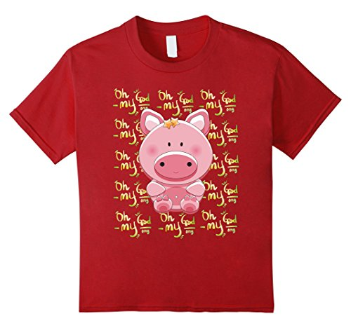 Kids Omg  Oh My God Pig Shirt For Pig Lovers 4 Cranberry