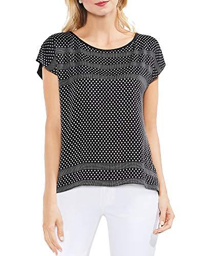 - VINCE CAMUTO Womens Diamond Geometric Stripe Blouse B/W L Rich Black