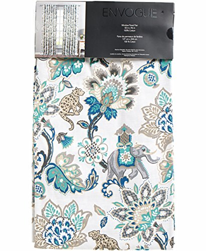 Envogue Exotic Jacobean Animals Flowers Window Curtains 100% Cotton Set of 2 Window Panels Pair Drapery Paradise Garden Turquoise Gray Blue Grey Taupe Teal
