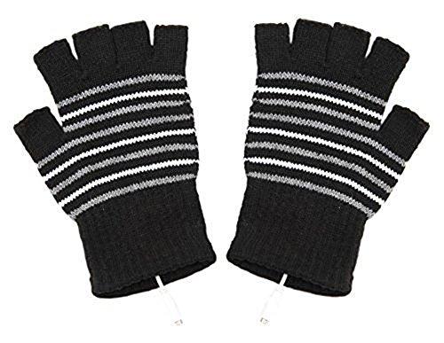 USB Powered Laptop Heating Knitting Wool Hands Warm Gloves Heated Warmer Black