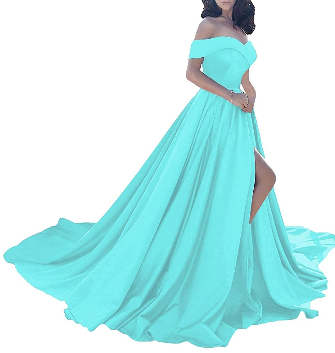 Ice bluee MorySong Women Elegant Off The Shoulder Prom Dress Side Split Long Evening Gown