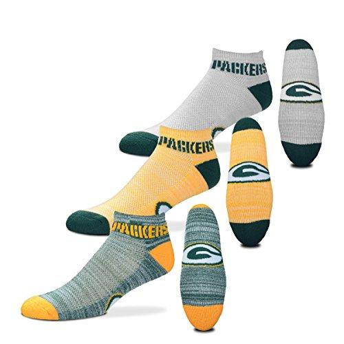 For Bare Feet Green Bay Packers $100 RMC Grid Heathered Socks, 3 Pack, Medium
