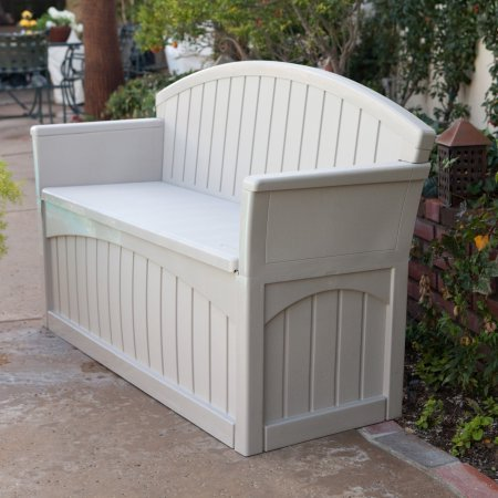 Outdoor Bench with 50 Gallon Capacity, Weather Resistant, Made of Plastic, Light Taupe Color,Suitable for Storing Patio Supplies, Perfect for Garden, Backyard, Pool Area, BONUS E-book by Best Care LLC