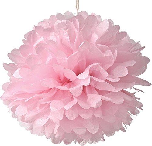 Set von 10Rosa Seidenpapier Pompons zum Aufhängen Blumen Ball Hochzeit Party Bridal Dusche Kinderzimmer Dekoration, rose, 10Inch