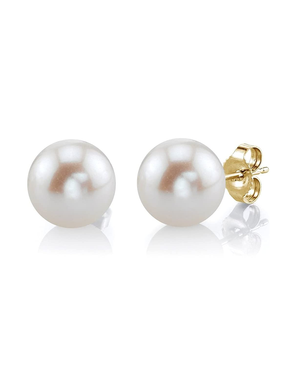THE PEARL SOURCE 14K Gold AAA Quality Round White Freshwater Cultured Pearl Stud Earrings for Women