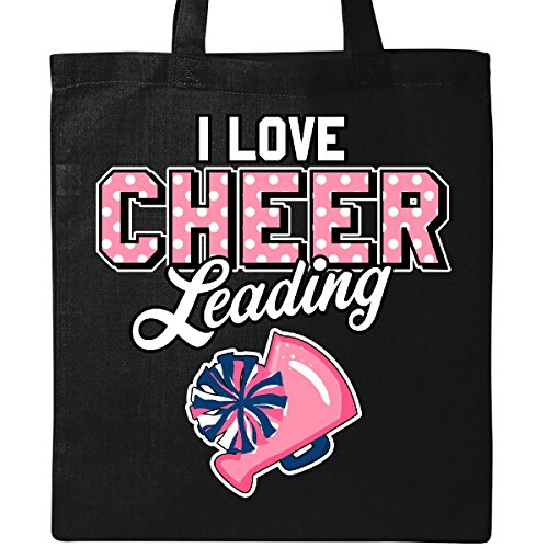 Inktastic I Love Cheerleading with Pom Poms and Megaphone Inversed Text Tote Bag Black for $<!--$14.99-->