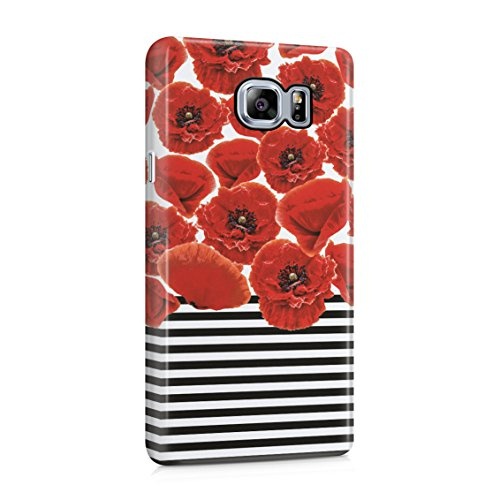 Red Poppy Blossoms Pattern Black, White Stripes Plastic Phone Snap On Back Case Cover Shell For Samsung Galaxy Note ()