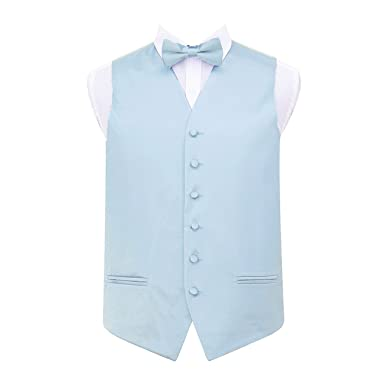 ec180842c725 New DQT Plain Men's Baby Blue Waistcoat, Bow Tie, Hanky and Cufflinks Set-