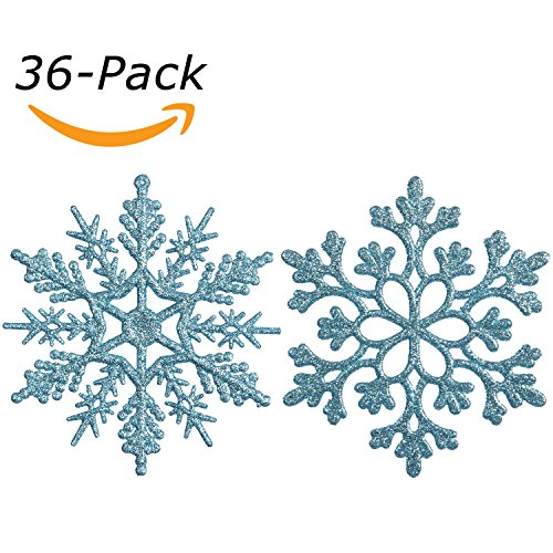 - Sea Team Plastic Christmas Glitter Snowflake Ornaments Christmas Tree Decorations, 4-inch, Set of 36, Babyblue