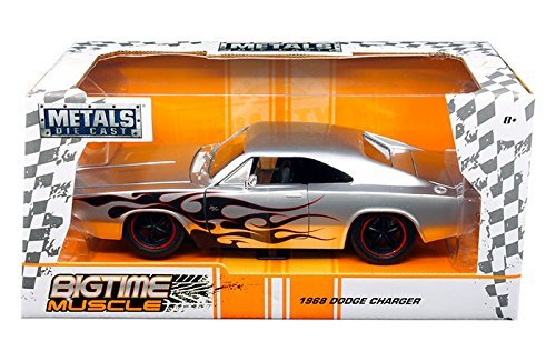 Jada 99367 1968 Dodge Charger Silver with Flames Big Time Muscle 1/24 Diecast Model Car