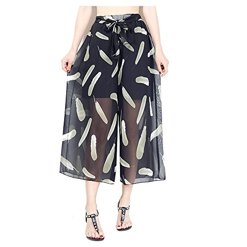- Hanglin Trade Women's Boho Pants Elegant High Waisted Belted Flowy Wide Leg Pants Plus Size Casual Pants(Style-11 S)
