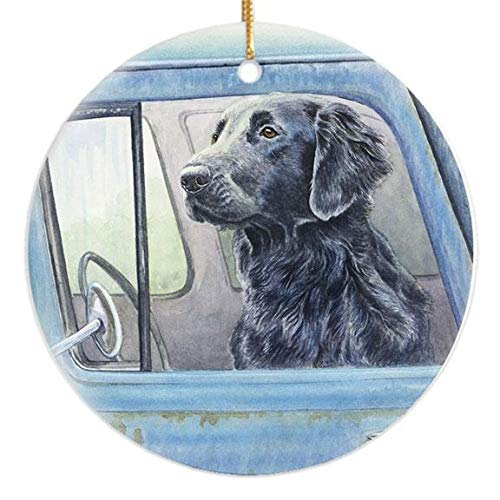 Michael Steddum Flat Coated Retriever Wait Here Christmas Ornament