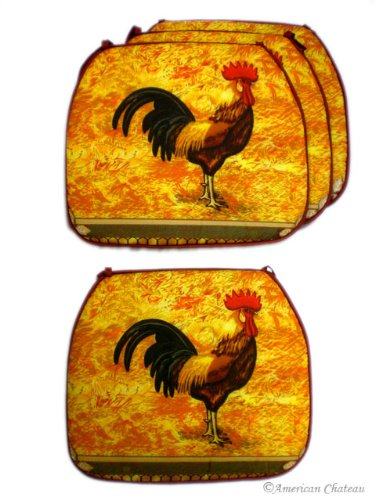 American Chateau 4 Pc Cover Set Country Rooster Kitchen Cushion Chair  Covers Pads Home Decor