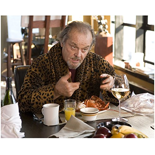 Jack Nicholson 8 Inch x 10 Inch Photograph The Shining The Departed Chinatown Talking/Eating at Table in Robe Pose 1 kn