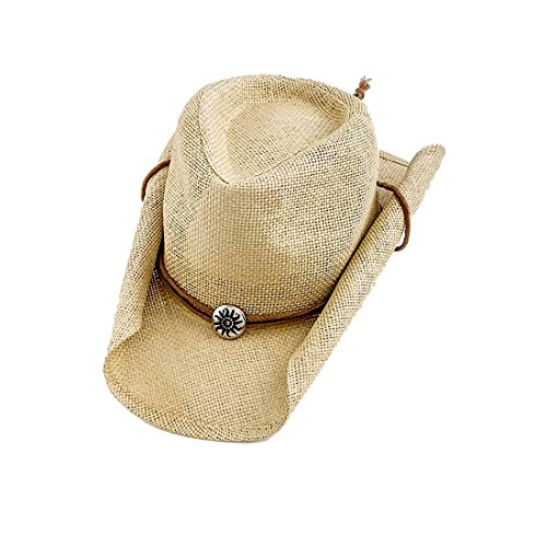 Beige Tribal Sun Bead Accent Woven Western Cowboy Hat with Natural Roll Brim