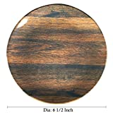 6.5-inch Melamine Dessert Plates/Serving Platters with Wood Grain,Set of 4