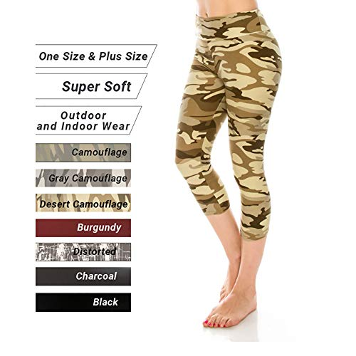 The Softest Capri Leggings for Women High Waist Solid and Printed Reg/Plus Yoga Gym Workout (Desert Camouflage, One -