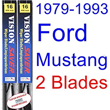 1979-1993 Ford Mustang Replacement Wiper Blade Set/Kit (Set of 2 Blades) (Saver Automotive Products-Vision Saver) (1980,1981,1982,1983,1984,1985,1986,1987 ...