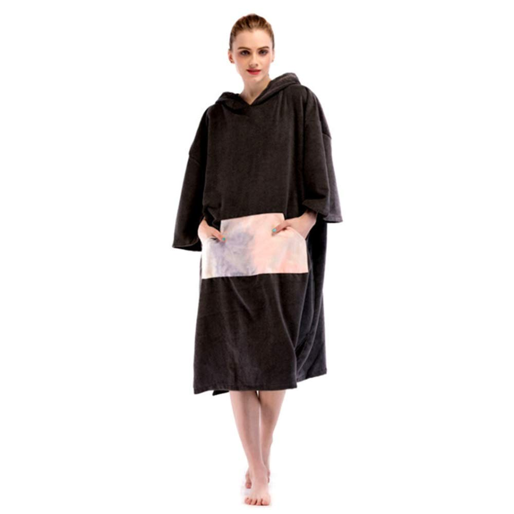 C2 Hooded Surf Poncho Quick Drying Oversized Beach Towel Cover Up Bathrobes Microfiber Changable Clothes Wetsuit Changing Towel Swimming Bath Robe With Hood Pocket Short Sleeve SandProof For Surfing Swi