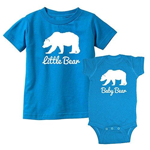 (We Match! Little Bear & Baby Bear Matching Kids T-Shirt & Bodysuit Set (NB Bodysuit, Youth Large, Cobalt))
