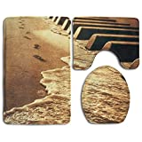 Accessories Musical Note Music Bathroom Rugs Set Environmental Protection Rug Set Floor Lid Toilet Cover And Bath Mat