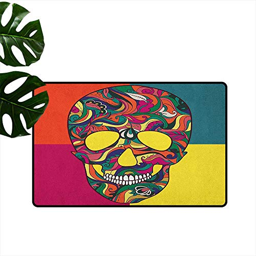 Sugar Skull Thin Door mat Colorful Calavera Themed Artwork Catrina Day of The Dead Mexican Culture Theme Environmental Protection W19 x L31 -