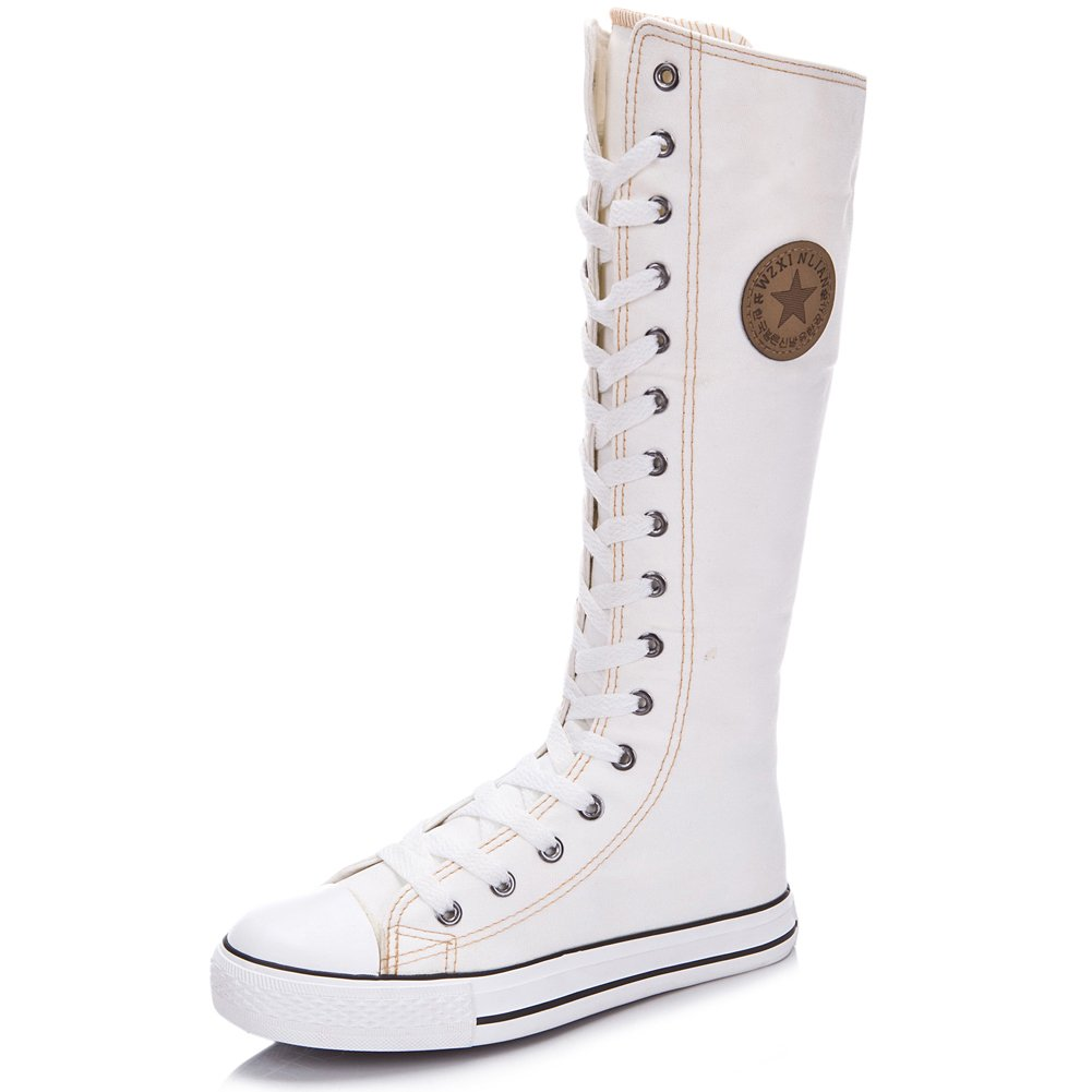 rismart Women's Lace Up Tall Punk Dancing Canvas Boots(White,us10)