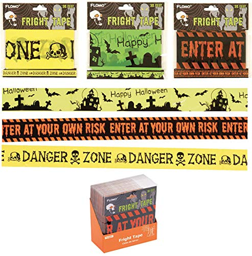 Flomo Halloween Plastic Fright Tape With Three Spooky Sayings(pack Of 72) -