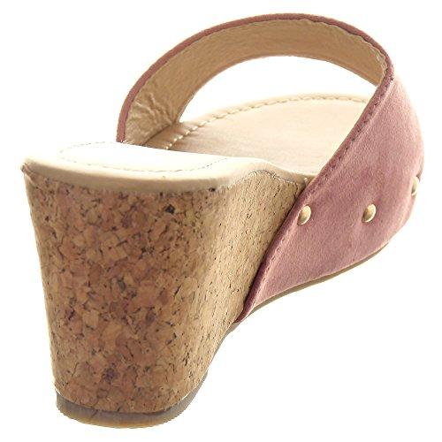 Sopily - Zapatillas de Moda Sandalias Zapatillas de plataforma Tobillo mujer tachonado Talón Plataforma 8 CM - Rosa