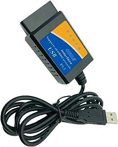 OBD2 Scanner Adapter OBD2 ELM327 USB Cable Car Code Reader Diagnostic Scan Tool Auto OBD OBDII ELM327 USB Cable V1.5 Version for Laptop PC Windows 7 XP 32 bit