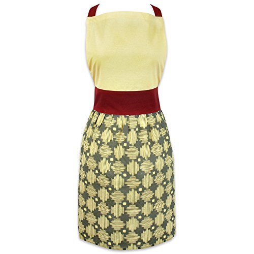 DII 100% Cotton, Trendy, Fashion Skirt Ladies Women Apron, Kitchen Chef Adult Apron, Adjustable Neck & Waist Ties, Perfet for Gift, Cooking, Baking, Crafting- Crosshatch (Adorable Apron)