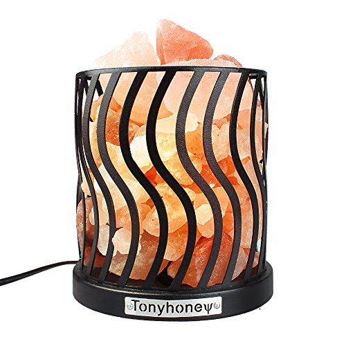 Salt Lamp Natural Himalayan Pink Salt Rock Lamps with Anti-Slid Rubber Base, Iron Metal Art Salt Lamp, Dimmer Switch, UL-Listed Cord, 2 Bulbs, for Christmas Gifts & Home Decoration (Black Iron Wave) ()
