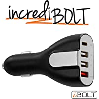 iBOLT incrediBOLT 4 port car charger - USB-C , USB-A , Qualcomm Quick Charge 3.0 certified - For all phones, tablets, and portable devices : iPhone 8 / 7 , iPad / iPad Pro , Samsung Galaxy S8 / Note 8