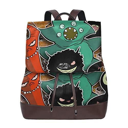 Oximing Cartoon Halloween Vampires, Zombies, Monsters, Kids, Mascots. Women's Leather Shoulder Bag, Outdoor Bag And Schoolbag