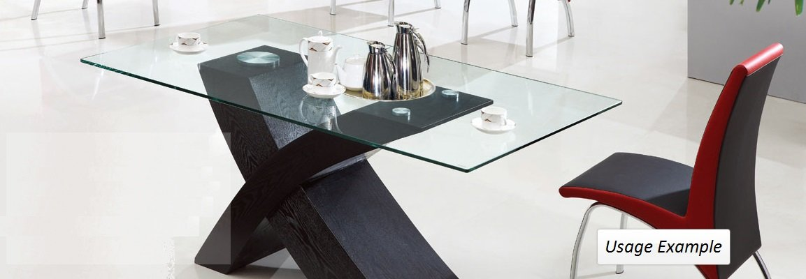 Fab Glass and Mirror 1/4'' Thick Flat Edge Tempered Eased Corners Rectangle Glass Table Top, 24'' X 36''