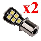 S&D 2pcs One Pair BAU15S 1156 21 SMD Canbus Led No Error Lamps White py21w Auto Car Truck Vehicle Bulbs Turn Signal External Lights Light Source 12V 2.8W 200-230LM