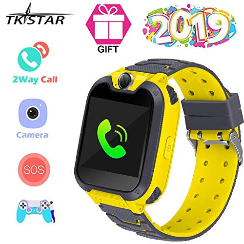 TK-STAR Smart Phone Watches for Kids Game Watch with Camera Touch Screen Digital Wrist Phone Watch for 5-12 Year Old Boys Girls Electronic Educational Learning Toys Birthday Gift. (Yellow)