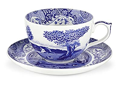 Spode 1503762 Blue Italian Jumbo Cup and Saucer,